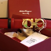 90/36 Unisex Salvatore Ferragamo Red Black Reversible Small Gold Buckle Belt