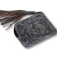 Sheridan Tooled Tassel Small Wallet - Slate