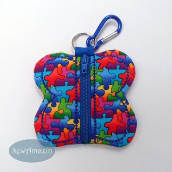 Puzzle Pieces Butterfly Coin Purse, Earbud Pouch