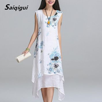 Saiqigui Chinese Style Summer Dress Sleeveless Women Dress Casual Cotton Linen dress Printed O-neck Plus Size Vestidos de festa