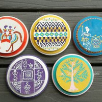 Coasters Round Wooden Handpainted Warli Indian folk art , Horse Riders, Tree, Geometric Shapes, Drummers Detailed Design