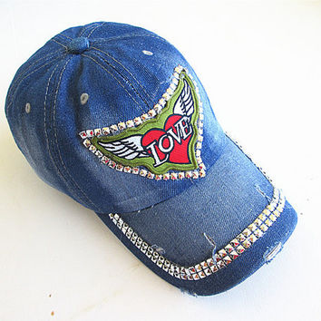 Studded Baseball Cap-Unisex Cap-Baseball Cap-Fashion Cap-Steam Punk Cap-Denim Cap.