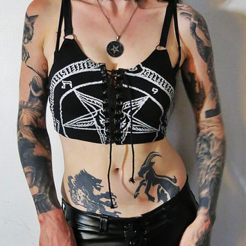 Hell Couture White Pentagram Lace Up Tank Top