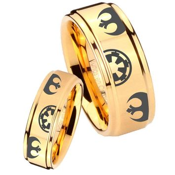 His Her Glossy Step Edges Star Wars Galactic Empire 14K Gold IP Tungsten Wedding Rings Set
