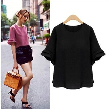 Women's tops casual speaker sleeves plus size fashion loose chiffon blouse