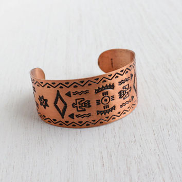 Vintage Copper Cuff Bracelet - 1970s Native American Style Embossed Tribal Costume Jewelry / Arrows & Birds