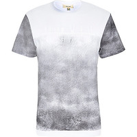 River Island MensWhite ombre fade out roman numeral t-shirt
