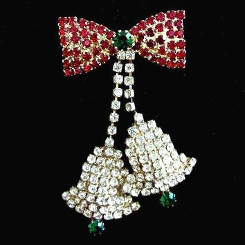 Christmas Rhinestone Bells Brooch, Red Green & Clear, Dangle, Vintage