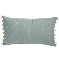 Cream & Aquamarine Lumbar Pillow