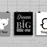 Nursery Prints - Arctic Wall Art, Great Outdoors, Boy or Girl Prints, Polar Bear, Penguin, Fox, Arctic Room Decor, Nursery wall Art