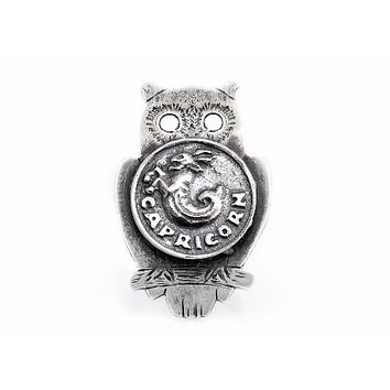 coin ring with the Capricorn coin medallion on owl zodiac jewelry ahuva