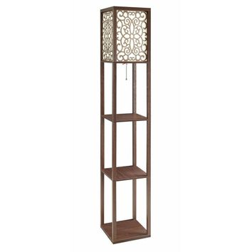 Intriguing Wooden Floor Lamp With Three Shelves, Brown-Coaster