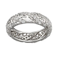 Sophie Miller Cubic Zirconia Sterling Silver Filigree Ring (White)