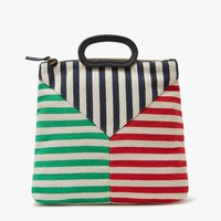 Clare V. / Marcelle Canvas in Mariner Stripe Patchwork