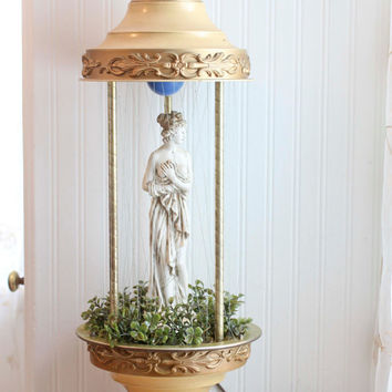 Goddess Rain Lamp, Grecian Home Decor, Vintage Rain Lamp, Oil Lamp, Gold Table Lamp, White Lady Statue, Motion Light, Semi Nude Woman, Greek