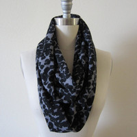 Soft Unisex Gray and black leopard print animal print cotton poly knit Infinity Scarf Loop Scarf Circle Scarf handmade