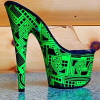 "Motif 701 Neon Green Tech Print Platform Slide Clear Upper 7"" Heel Shoe 6 and 11"