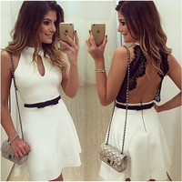 ≫∙∙Backless Evening Party Lace Sleeveless Wedding Homecoming Prom Event Dress  ∙∙≪