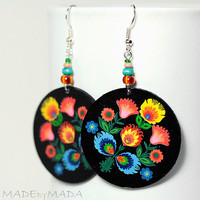Folk Flowers polish folk art motif Earrings Round and Colorful black orange blue green, gift under 25