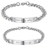Her King Bracelets His Queen Couple Bracelets with Crytal Stone Boyfriend Girlfriend Lover Jewelry Drop Shipping