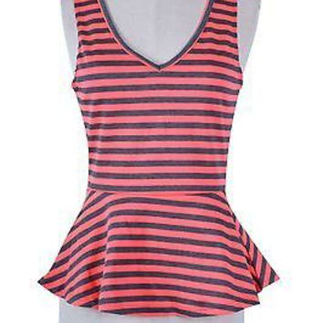 Sexy Multi-Color Striped Sleeveless Ponte Knit Peplum Cami Tank Top Shirt Blouse