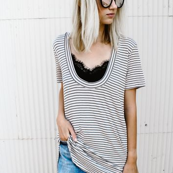 Oatmeal Stripe Deep V Tee