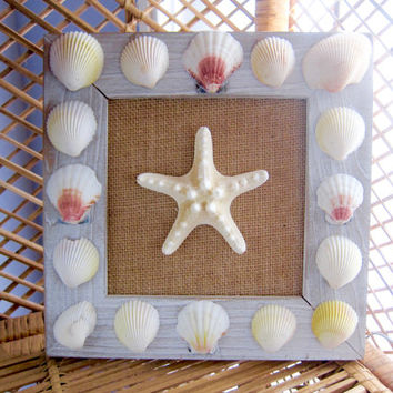 SEASHELL WALL ART - Beach house decor, Shell art, Beach decor, Handmade decor, Wall hanging, Bathroom decor, Starfish wall art, beach theme