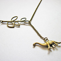 Dinosaur necklace, lariat necklace, branch necklace, animal necklace, dinosaur jewelry necklace, dino jewelry, quirky, dino necklace