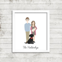Custom Personalized Full Portrait Illustration | Family Portrait Illustration | Couple Portrait | Wedding Gift | Gift Idea | Engagement