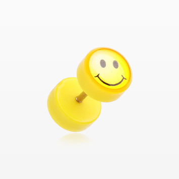 A Pair of Smiley Yellow Acrylic Faux Gauge Plug Earring