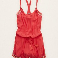 Aerie Women's Embroidered Romper (Pink Punch)