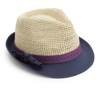 Crushable Embroidered Trim Fedora by Juicy Couture