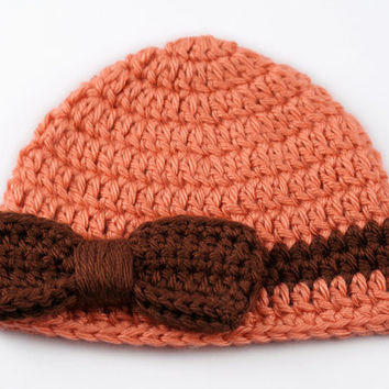 Crochet Baby Hat with Bow // Persimmon and Brown // Newborn Baby Girl Hat