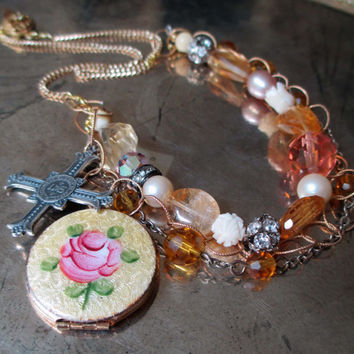 vintage enamel locket necklace - ENGLISH ROSE - with citrine pearls catholic medal rosary cottage spring summer trend by the french circus