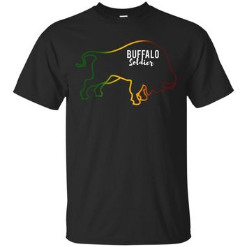 Buffalo Soldier New Rasta Reggae Roots Clothing T Shirt Tee_Black