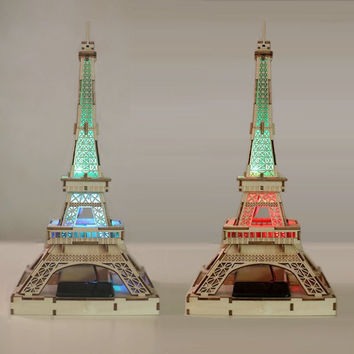 Freeshipping Children DIY 3D LED Light Solar Power DIY Wooden Eiffel Tower Toys Kits Assemble Toys For Gifts