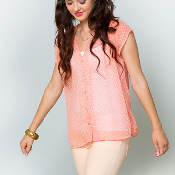 Soft Coral Pleated Blouse