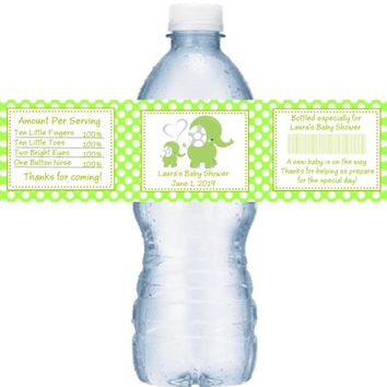21 Green Elephant Baby Shower Water Bottle Labels Polka Dot