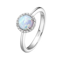 Lafonn Lab Grown Opal and Simulated Diamond Halo Birthstone Ring