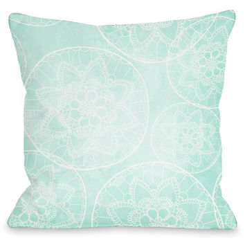"""Doily Pattern"" Outdoor Throw Pillow by OneBellaCasa, 16""x16"""
