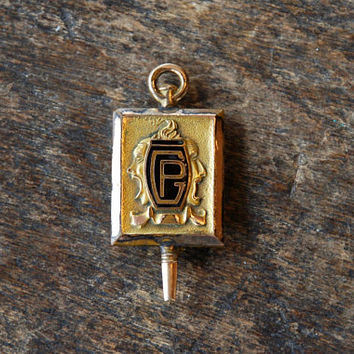 Vintage Drama Club Brooch Pin Peters Co Art Deco Comedy Tragedy Theater Acting School Pin Collegiate 1932 // Vintage Costume Jewelry