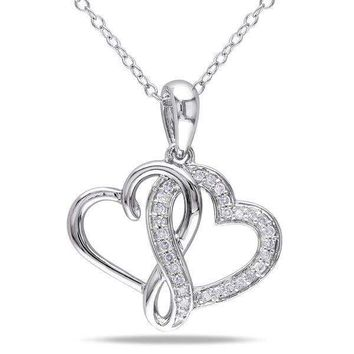 Sterling Silver Double Heart Diamond Necklace For Women