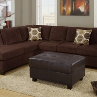 2 pc Chocolate waffle suede Microfiber sectional sofa with reversible chaise and tufted cushions
