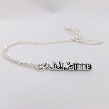 JeT'aime Sterling Silver Necklace, Chain with Love Intention Charm, Inspiring word, Statement Necklace, Mothersday gift, Bridesmaid gift