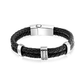 Strap Black Braided Leather Woven Bangle Bracelet Stainless Buckle