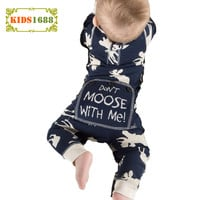 Winter New Baby Boy Clothes Romper 2017 Cartoon Reindeer Pattern Girls Infant Jumpsuit Don't Moose With Me letter Newborn Romper