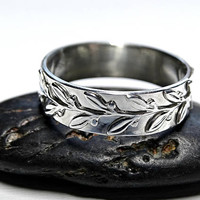 pagan wedding ring, laurel ring silver engagement ring, twig silver ring, wreath eternity ring silver, leaf ring silver filigree ring silver