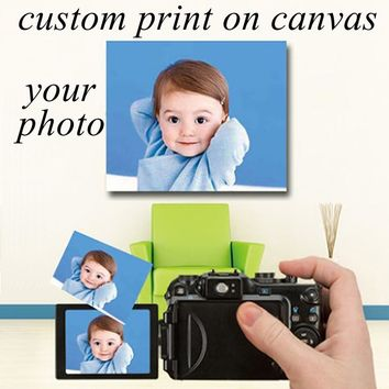 Custom Canvas Prints for Your Picture,Family,Friends Or Baby Photo,Favorite Image Abstract Wall Painting Print or Poster