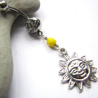 Sun Belly Button Ring, Belly Ring, Sunshine Belly Button Jewelry