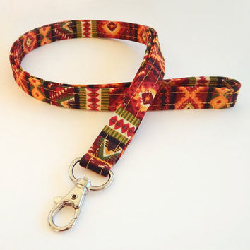 Tribal Print Lanyard / Southwest / Boho Keychain / Bohemian / Key Lanyards / ID Badge Holder / Tribal Pattern / Southwestern